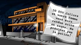 """Sur un bout de papier devant une maison d'architecte : """"50 000 dollars et votre femme vous sera rendue saine et sauve. Ne prévenez pas al police !"""""""