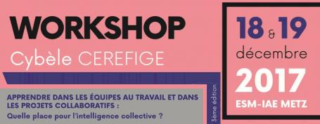Workshop Cybèle CEREFIGE - 18-19 décembre 2017 - ESM-IAE - 3ème édition - apprendre dans els équipes de travail et dans les projets collaboratifs : quelle place pour l'intelligence colelctive ?
