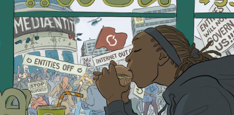 Un jeune homme mange un burger sans prêter attention à une manifestation contre un réseau social devenu hégémonique.